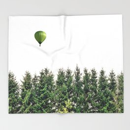 Float Away - Hot Air Balloon Forest Photograph Throw Blanket