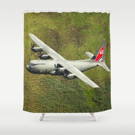 Low Flying Hercules With Special RAF Centenary Tail Art Shower Curtain