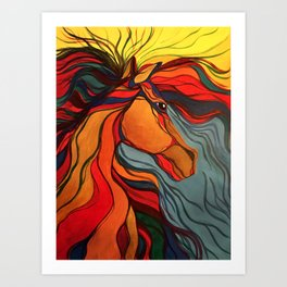 Wild Horse Breaking Free Southwestern Style Art Print