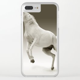 Prancing White Horse Clear iPhone Case