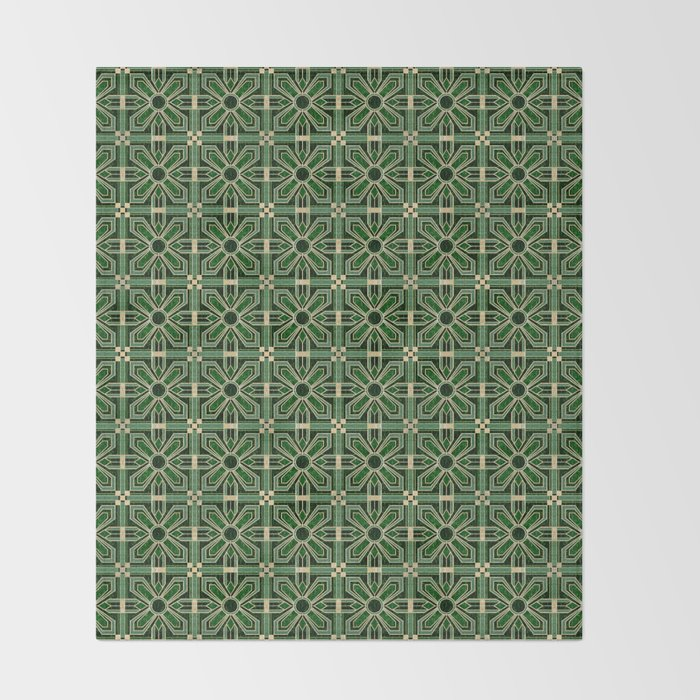 Art Deco Floral Tiles in Emerald Green and Faux Gold Throw Blanket