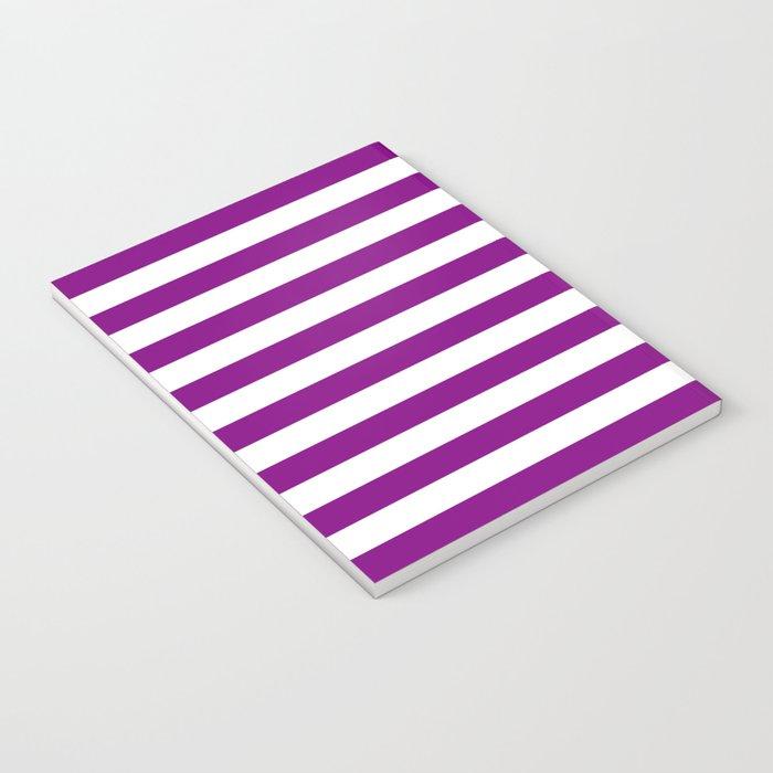 Horizontal Stripes (Purple/White) Notebook
