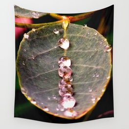 Water Drops Leaf Wall Tapestry