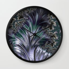 """""""Orion's Leaf"""" Green and Silver Fractal Wall Clock"""