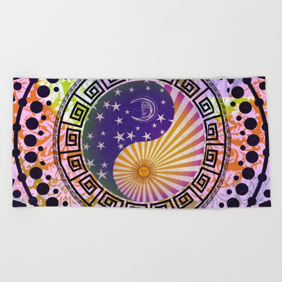 Vintage Sun Moon & Stars Yin & Yang Beach Towel