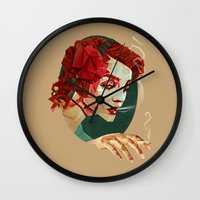 "smoking Wall Clocks featuring ""Smoking Princess"" by Giulio Rossi"