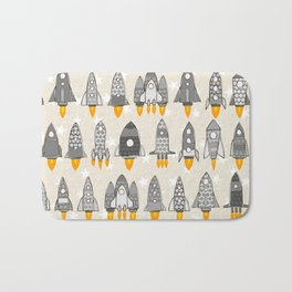 retro rockets mono Bath Mat