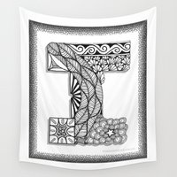 iggy Wall Tapestries featuring Zentangle I Monogram Alphabet Illustration by Vermont Greetings