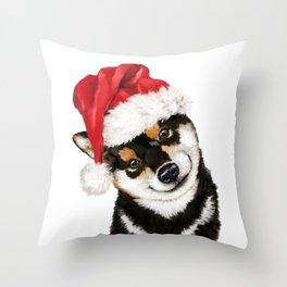 Christmas Black Shiba Inu Throw Pillow