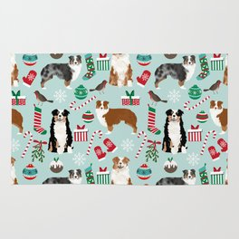 Australian Shepherd christmas festive holiday dog breed gifts for holidays Rug