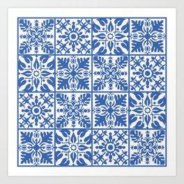 Hawaiian Quilt in Blue Art Print