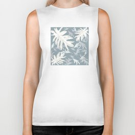 Trio palm leaves White blue 1 grey autumn fall tropical pattern society6 Biker Tank