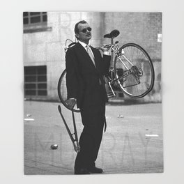 Bill F Murray stealing a bike. Rushmore production photo. Throw Blanket