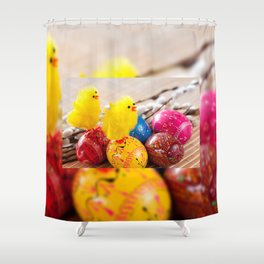 Easter eggss and fluffy chickens Shower Curtain