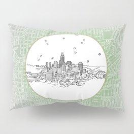Indianapolis, Indiana City Skyline Illustration Drawing Pillow Sham