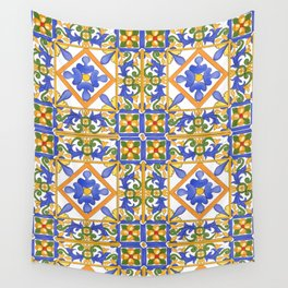 Summer,colourful detailed Sicilian style art Wall Tapestry