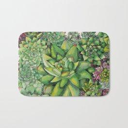 Watercolour Succulents Bath Mat