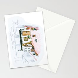 The little girl in orange. The bakery Stationery Cards