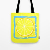 coasters Tote Bags featuring LEMON by Tanya Pligina