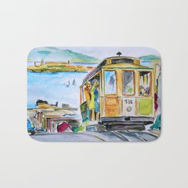 San Francisco Cable Car watercolor Bath Mat