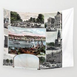 Kansas City in 1855 & 1887 Wall Tapestry