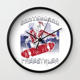 Skull Skateboard Skater Skeleton Freestyler Gift Wall Clock