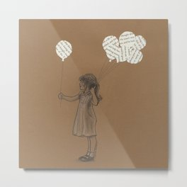 Girl with Balloons Metal Print