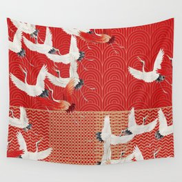 FLYING CRANES Wall Tapestry