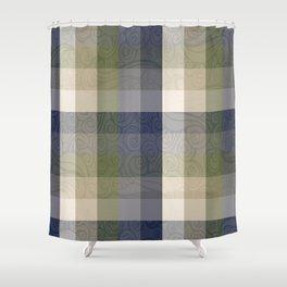 Chambray Fiord Swirly Plaid Shower Curtain