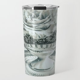 Rose Pearls Teacup Still Life Modern Cottage Chic Decor Art A482 Travel Mug
