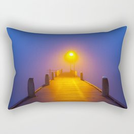 Jetty on a foggy morning at dawn Rectangular Pillow