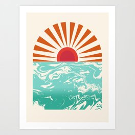 Keepin' It Real - retro 70s vibes throwback ocean sunset sunrise socal surfing beach life 1970's Art Print