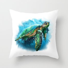 Abstract Watercolor Sea Turtle on White 3 Minimalist Coastal Art - Coast - Sea - Beach - Shore Throw Pillow
