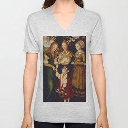 "Lucas Cranach the Elder ""Catherine altar, right wing Saints Dorothea, Agnes and Kunigunde"" Unisex V-Neck"
