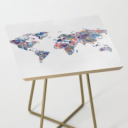 Moroccan Tile Mosaic Pattern World Map Art Side Table