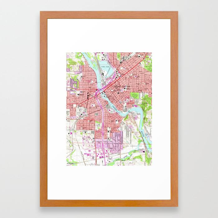 Vintage Map of Cedar Rapids Iowa (1967) Framed Art Print by ... on