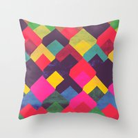 georgiana paraschiv Throw Pillows featuring colour + pattern 11 by Georgiana Paraschiv