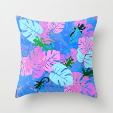 Monstera and Lizards in Blue Throw Pillow