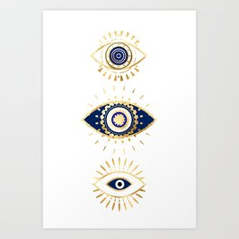 evil eye times 3 navy on white Art Print