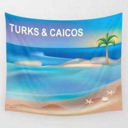 Turks and Caicos - Skyline Illustration by Loose Petals Wall Tapestry