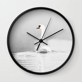 Swan in mist Wall Clock