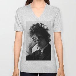 Bob Dylan Smoking Black and white Retro Silk Poster Frameless Unisex V-Neck