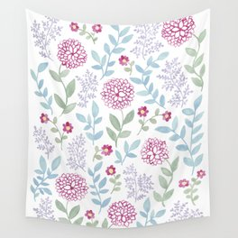 Watercolor Floral Dahlia Art Wall Tapestry