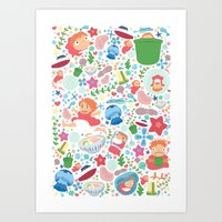 studio ghibli Art Prints featuring Ponyo Pattern - Studio Ghibli by Teacuppiranha