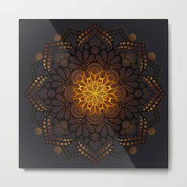 """Warm light Moroccan lantern Mandala"" Metal Print"