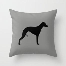 Black Whippet Silhouette Throw Pillow