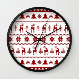 Christmas Sweater in Red Wall Clock