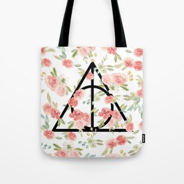 Floral Deathly Hallows Tote Bag