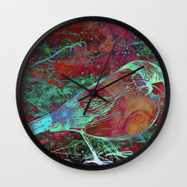 Mixed Media Bird Wall Clock
