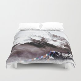 Panoramic View Of Everest Mountain Painting Duvet Cover